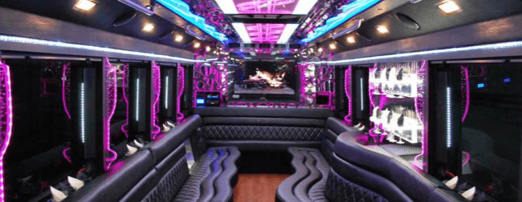 Pink Party Bus Interior A1A Limo