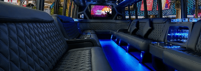 Blue Party Bus Interior A1A Limo