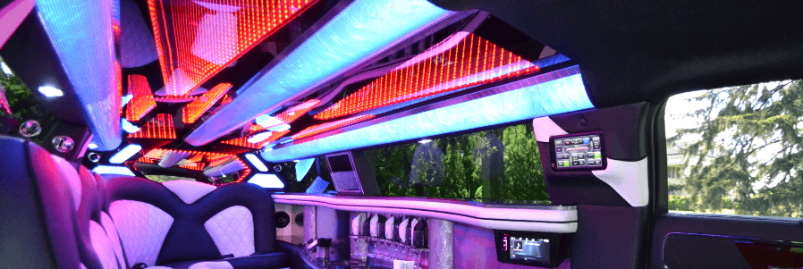 Purple Party Bus Interior A1A Limo