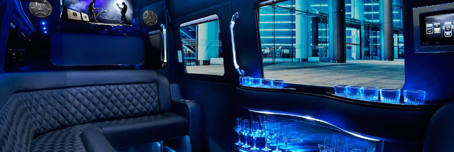Teal Party Bus Interior